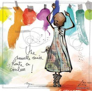 carte postale illustrée par myra vienne mon amie luce et éditée aux éditions de cortil pour une année haute en couleur
