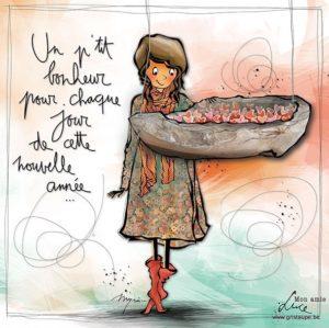 carte postale illustrée par myra vienne mon amie luce et éditée aux éditions de cortil un petit bonheur pour chaque jour