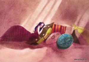 carte postale illustrée par nathalie polfliet et éditée aux éditions de cortil du temps pour soi