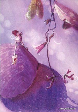 carte postale illustrée par nathalie polfliet et éditée aux éditions de cortil framboise et lilas