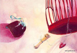 carte postale illustrée par nathalie polfliet et éditée aux éditions de cortil l'amour s'envole
