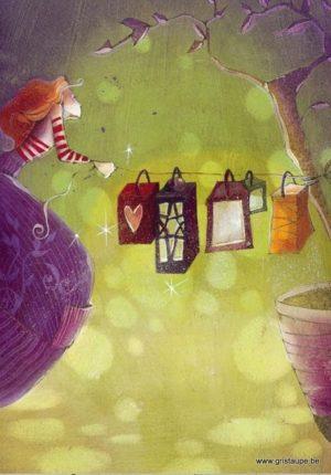 carte postale illustrée par nathalie polfliet et éditée aux éditios de cortil lumière dans mon jardin