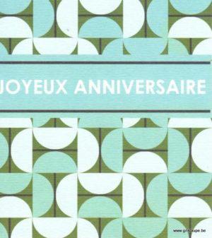 carte postale illustrée par hil claesens et éditée aux éditions mailbox joyeux anniversaire motif géométrique