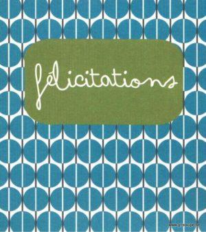 carte postale illustrée par hil claessens et éditées aux éditions mailbox félicitations motif géométriques bleux
