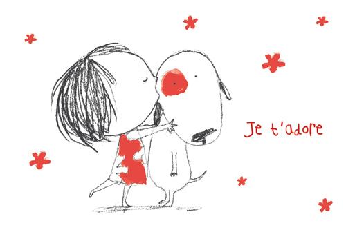 carte postale ilustrée par JP Arrou vignod et O Tallec je t'adore
