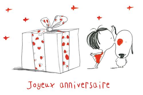 carte postale illustrée par JP Arrou vignod et O tallec joyeux anniversaire