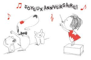 carte postale illustrée par JP Arrou vognod et O Tallec rita et machin joyeux anniversaire