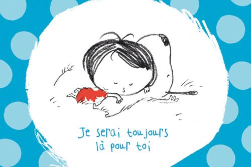 carte postale illustrée par JP Arrou vignod et O Tallec et éditée aux édition kiub je serai toujours là pour toi