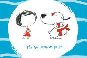 carte postale illustrée par JP Arrou vignod et O tallec et éditée aux édition kiub très bon anniversaire