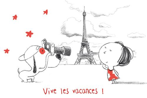 carte postale illustrée par JP Arrou vignod et O tallec et éditée aux éditions kiub vive les vacances