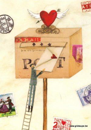 carte postale illustrée par silke leffler et éditée aux éditions graetz courrier du coeur