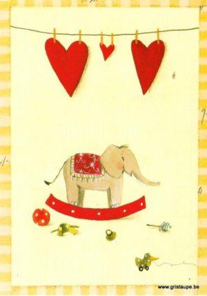 carte postale illustrée par silke leffler et éditée aux éditions graetz l'éléphant à bascule