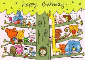 carte postale illustrée par sophie dollé et éditée aux éditions carte d'art happy birthday arbre