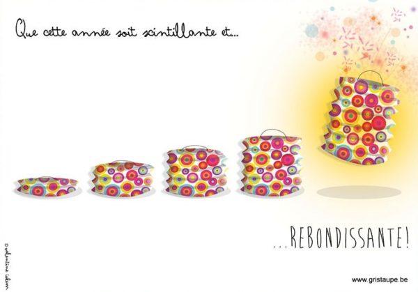 carte postale illustrée par valentine iokem et éditée aux éditions de cortil que cette année soit scintillante et rebondissante