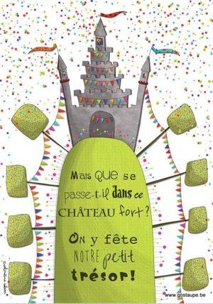 carte postale illustré par valentine iokem et éditée par les éditions de cortil chateau fort