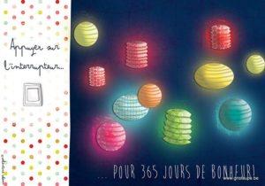 carte postale illustrée par valentine iokem et éditée aux éditions de cortil appuyez sur l'interrupteur pour 365 jours de bonheur