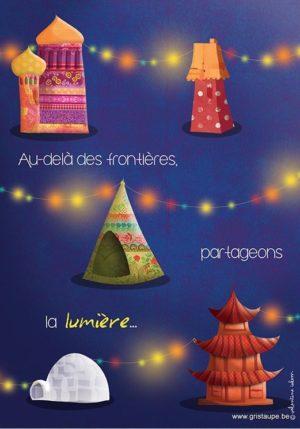 carte postale illustrée par valentine iokm et éditée aux éditions de cortil au delà des frontièrespartageons la lumière
