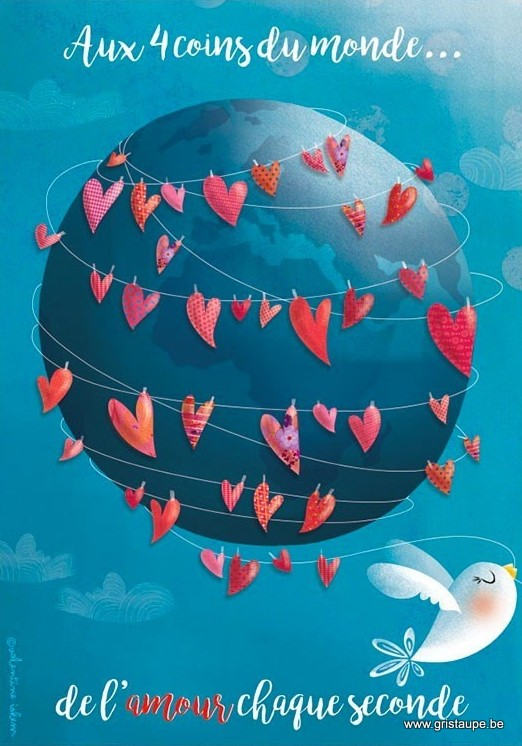 carte postale illustrée par valentine iokem et éditée aux éditions de cortil aux 4 coins du monde de l'amour chaque seconde