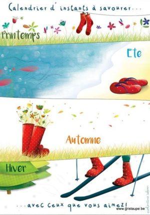 carte postale illustrée par valentine iokem représentant les 4 saisons