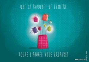 carte postale illustrée par valentine iokem et éditée aux éditions de cortil que ce bouquet de lumière toute l'année vous éclaire
