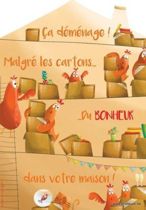 carte postale illustrée par valentine iokem et éditée aux éditions de cortil ca déménage