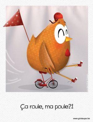 carte postale illustrée par valentine iokem et éditée aux éditions de cortil ca roule ma poule