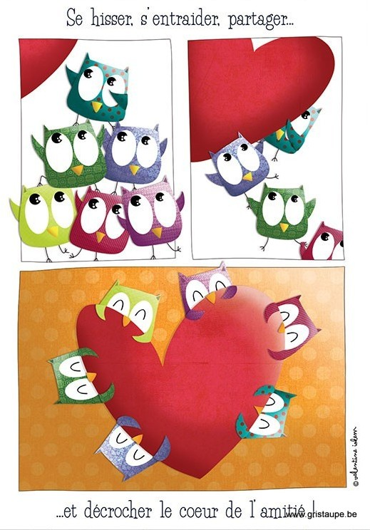 carte postale illustrée par valentine iokem et éditée aux éditions de cortil se hisser s'entraider, partager et décrocher le coeur de l'amitié