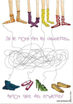 carte postale illustrée par valentine iokem et éditée aux éditions de cortil j'ai le moral dans les chaussettes partons faire des emplettes