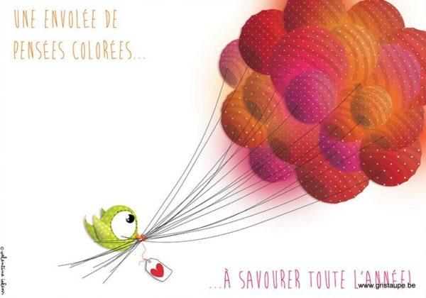 carte^postale illustrée par valentine iokem et éditée aux éditions de cortil une envolée de pensées colorées à savourer tout l'année
