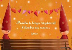 carte psotale illustrée par valentine iokem et éditée aux éditions de cortil prendre le temps simplement d'étendre nos coeurs