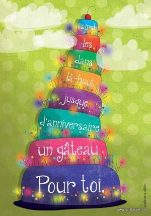 carte postale illustrée par valentine iokem et éditée aux éditions de cortil pour toi un gâteau d'anniversaire jusque dans les airs