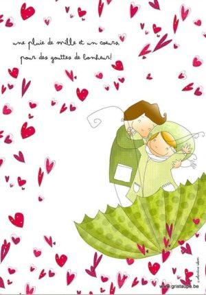 carte postale illustrée par valentine iokem et éditée aux éditions de cortil unepluie de mille et un coeurs pour des gouttes de bonheur