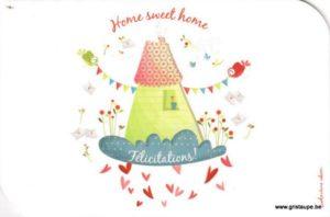 carte postale illustrée par valentine iokem et éditée aux éditions de cortil home sweet home félicitations