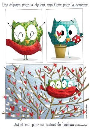 carte postale illustrée par valentine iokem et éditée aux éditions de cortil instant de bonheur