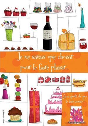 carte postale illustrée par valentine iokem et éditée aux éditions de cortil je ne savais que choisir pour te faire plaisir