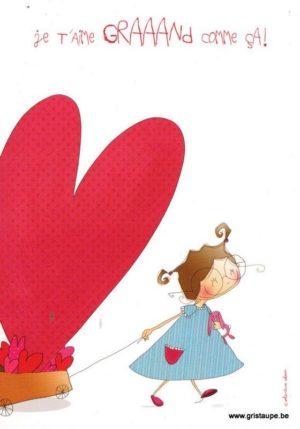 carte postale illustrée par valentine iokem et éditée aux éditions de cortil je t'aime grand comme ça