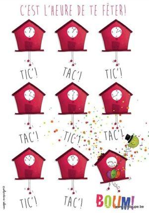 carte postale illustrée par valentine iokem et éditée aux éditions de cortil c'est l'heure de te fêter