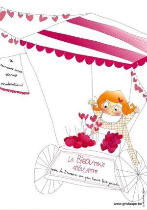 carte postale illustrée par valentine iokem et éditée aux éditions de cortil la bisouterie ambulante