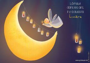 carte postale illustrée par valentine iokem et éditée aux éditions de cortil là haut il y a aussi la lumière