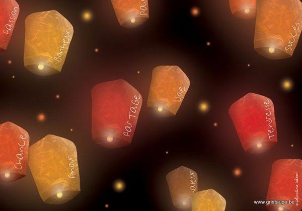 carte postale illustrée par valentine iokem et éditée aux éditions de cortil lanternes