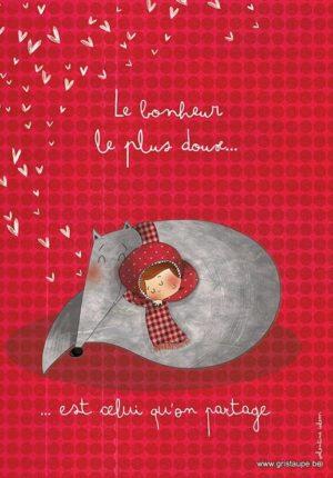carte postale illustrée par valentine iokem et éditée aux éditions de cortil le bonheur le plus doux est celui qu'on partage