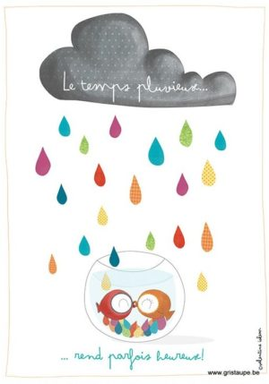 carte postale illustrée par vazlentine iokem et éditée aux éditions de cortil le temps pluvieux rend parfois heureux
