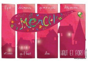 carte postale illustrée par valentine iokem et éditée aux éditions de cortil merci haut et fort