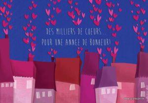 carte postale illustrée par valentine iokem et éditée aux édtions de cortil des milliers de coeurs pour une année de bonheur