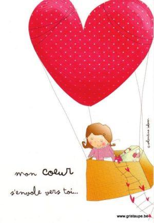 carte postale illustrée par valentine iokem et éditée aux éditions de cortil mon coeur s'envole