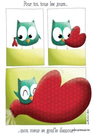 carte postale illustrée par valentine iokem et éditée aux éditions de cortil mon coeur se gonfle