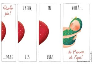 carte postale illustrée par valentine iokem et éditée aux éditions de cortil enfin me voilà dans les bras de papa et maman
