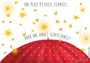 carte postale illustrée par valentine iokem et éditée aux éditions de cortil unepluie d'étoiles filantes pour une année scintillante