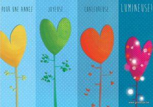 carte postale illustrée par valentine iokem et éditée aux éditions de cortil pour une année joyeuse, chaleureuse, lumineuse