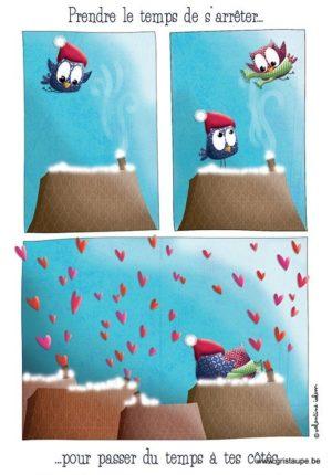 carte postale illustrée par valentine iokem et éditée aux éditions de cortil prendre le temps de s'arrêter pour passer du temps à tes côtés